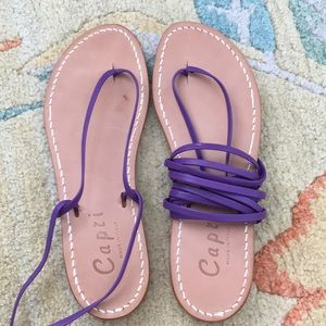 Purple Leather Lace-Up Sandals